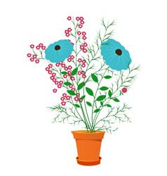 Beautiful summer flowers in a pot vector