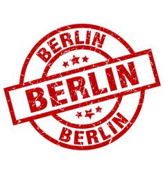 Berlin red round grunge stamp vector