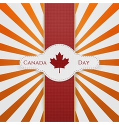 Canada day national emblem with red ribbon vector