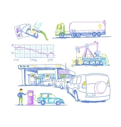 Car refueling turn drawings by hand vector
