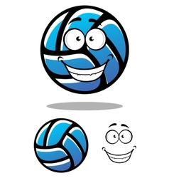 Cartoon blue volleyball ball character vector