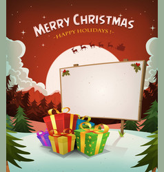 christmas holidays landscape background vector image