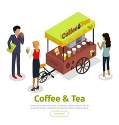 Coffee Tea Concept Isometric Web Banner vector image vector image