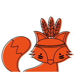 Color cute fox animal with feathers decoration vector