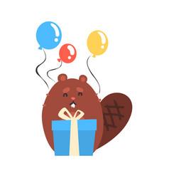Cute cartoon beaver holding blue gift box and vector