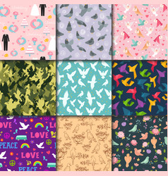 dove birds seamless pattern different style vector image