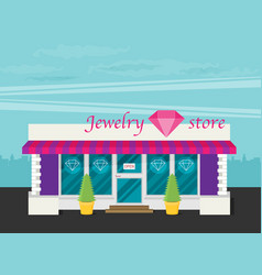 Facade of jewelry flat vector