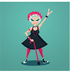 Forever young old lady funny old rock fan active vector