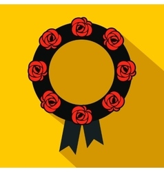 Funeral wreath flat icon vector