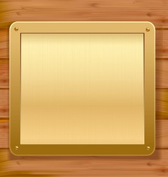 gold metalic plaque wood background vector image vector image