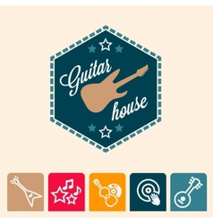 Guitar house vector