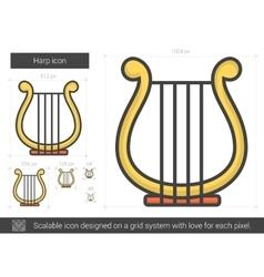 Harp line icon vector