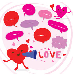Heart speak love to sweetheart cute cartoon vector