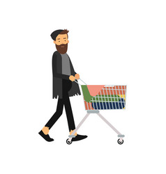 homeless man pushing shopping cart with his vector image