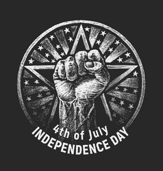 Independence day chalk drawing on textured vector