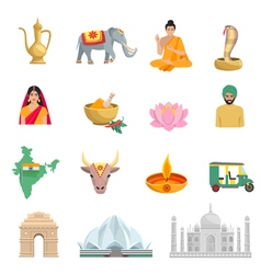 India Flat Icons Set vector image