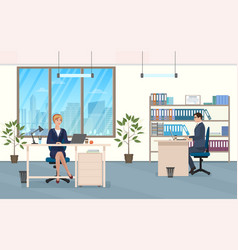 man and woman at the desk in the office vector image vector image