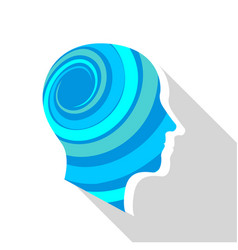 Meditative brain icon flat style vector