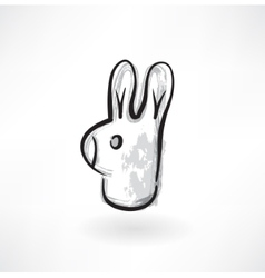 Rabbit head grunge icon vector