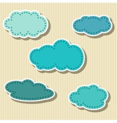 Set of Cloud-shaped Paper Tags vector image vector image