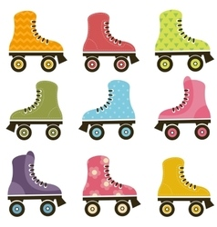 set of patterned roller skates vector image