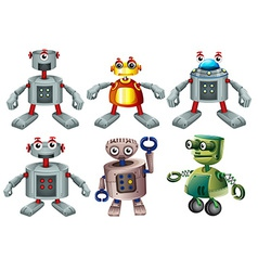 Six robots vector image vector image