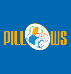 Sofa and bed pillows linear vector
