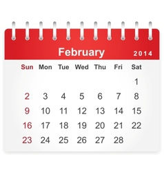 Stylish calendar page for February 2014 vector image