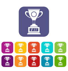 Winner cup icons set flat vector