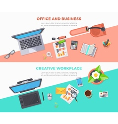 Workplace office horizontal banners vector