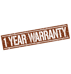 1 year warranty square grunge stamp vector
