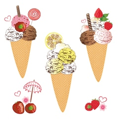 Ice cream with waffle vector