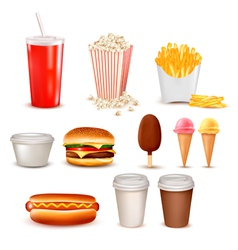 Big group of fast food products vector