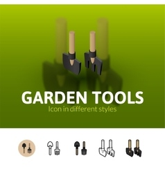 Garden tools icon in different style vector
