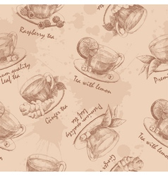 Hand drawn cup of tea seamless vector image