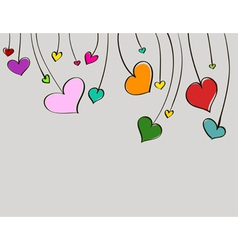 Hand-drawn colorful love hearts vector image