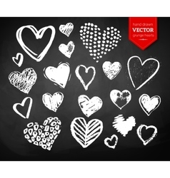 Chalk drawn collection of valentine hearts vector