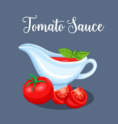Saucers with tomato sauce and vegetables vector