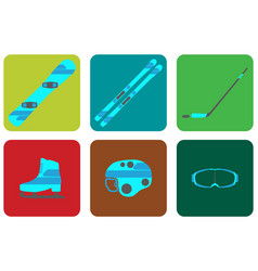 Winter sports equipment flat set icon vector