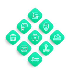 Appliances consumer electronics line icons set vector