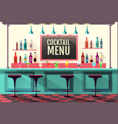 flat style interior of cocktail bar web design vector image