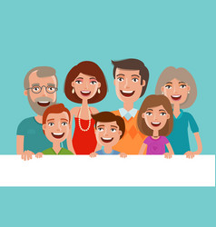Happy cheerful family banner people children vector
