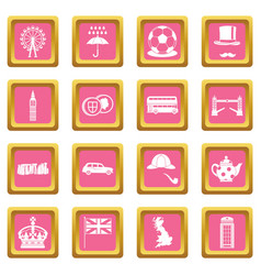 Great britain icons pink vector