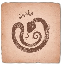 Snake chinese zodiac sign horoscope vintage card vector