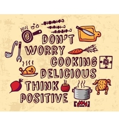 Cooking poster positive thing and objects color vector