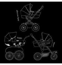 Sketch of children white pram vector