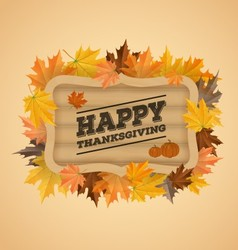 Happy thanksgiving day typography on wooden board vector