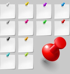Sticky notes with pushpins vector