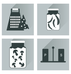 Set flat icons with long shadow homemade vector