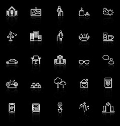 Retirement community line icons with reflect on vector